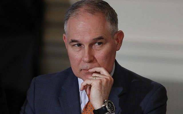 Environmental Protection Agency Administrator Scott Pruitt attends a meeting with state and local officials and President Donald Trump about infrastructure in the State Dining Room of the White House in Washington on February 12, 2018. (AP/Carolyn Kaster)
