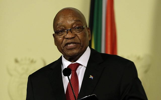 South African President Jacob Zuma addresses the nation and press at the government's Union Buildings in Pretoria, South Africa, February 14, 2018. (AP Photo/Themba Hadebe)