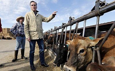 Former Republican presidential candidate Mitt Romney stands near cows during a tour of Gibson's Green Acres Dairy Friday, Feb. 16, 2018, in Ogden, Utah. The 2012 Republican presidential candidate plans to bid for the seat being vacated by retiring seven-term Utah Sen. Orrin Hatch. (AP Photo/Rick Bowmer)