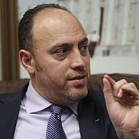 Husam Zomlot, the Palestinian envoy to Washington, speaks during an interview with the Associated Press in Washington, on February 16, 2018. (AP Photo/Pablo Martinez Monsivais)