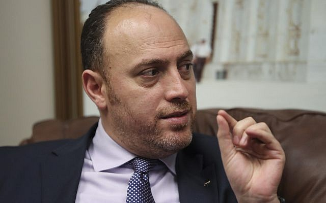 Husam Zomlot, the Palestinian envoy to Washington, speaks during an interview with the Associated Press in Washington, on February 16, 2018. (AP Photo/Pablo Martinez Monsivais)