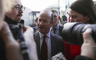 UK Independence Party (UKIP) leader Henry Bolton arrives for a party Extraordinary General Meeting in Birmingham, England, before a vote on his leadership Saturday February 17, 2018. (Aaron Chown/PA via AP)