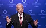Former US Vice President Joe Biden speaks during a conference in Athens, June 7, 2017. (AP Photo/Petros Giannakouris, File)