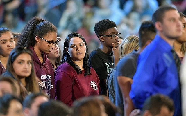 Marjory Stoneman Douglas High School students at a CNN town hall broadcast, February 21, 2018, at the BB&T Center, in Sunrise, Florida. (Michael Laughlin/South Florida Sun-Sentinel via AP)