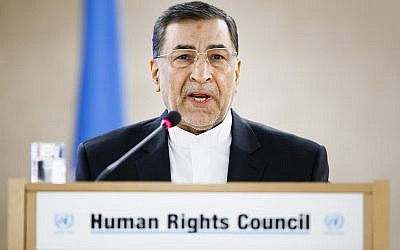 Seyyed Alireza Avaei, Minister of Justice of the Islamic Republic of Iran, delivers a speech during the High-Level Segment and second day of the 37th session of the Human Rights Council, at the United Nations in Geneva, Switzerland, February 27, 2018. (Valentin Flauraud/Keystone via AP)
