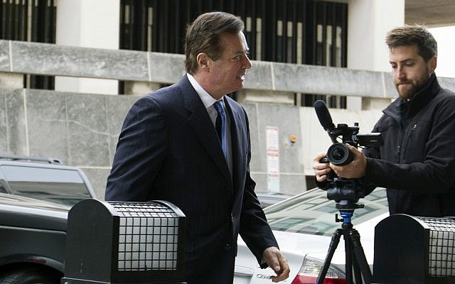 Paul Manafort, US President Donald Trump's former campaign chairman, arrives at the federal courthouse in Washington on February 28, 2018. (AP Photo/Jose Luis Magana)