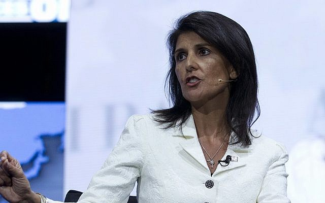 Ambassador to the United Nations Nikki Haley speaks at the 2017 American Israel Public Affairs Committee (AIPAC) Policy Conference held at the Verizon Center in Washington, on March 27, 2017. (AP Photo/Jose Luis Magana)
