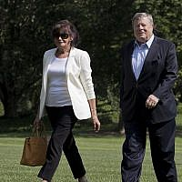 Amalija Knavs, left, and Viktor Knavs, parents of first lady Melania Trump, as they arrive at the White House in Washington, June 18, 2017. (AP Photo/Manuel Balce Ceneta)