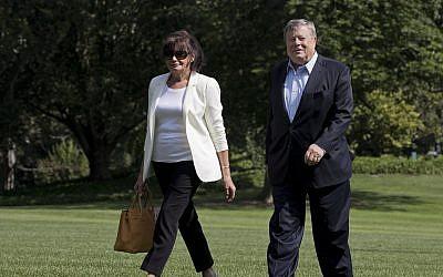Amalija Knavs, left, and Viktor Knavs, parents of first lady Melania Trump, as they arrive at the White House in Washington, June 18, 2017. (AP Photo/Manuel Balce Ceneta)