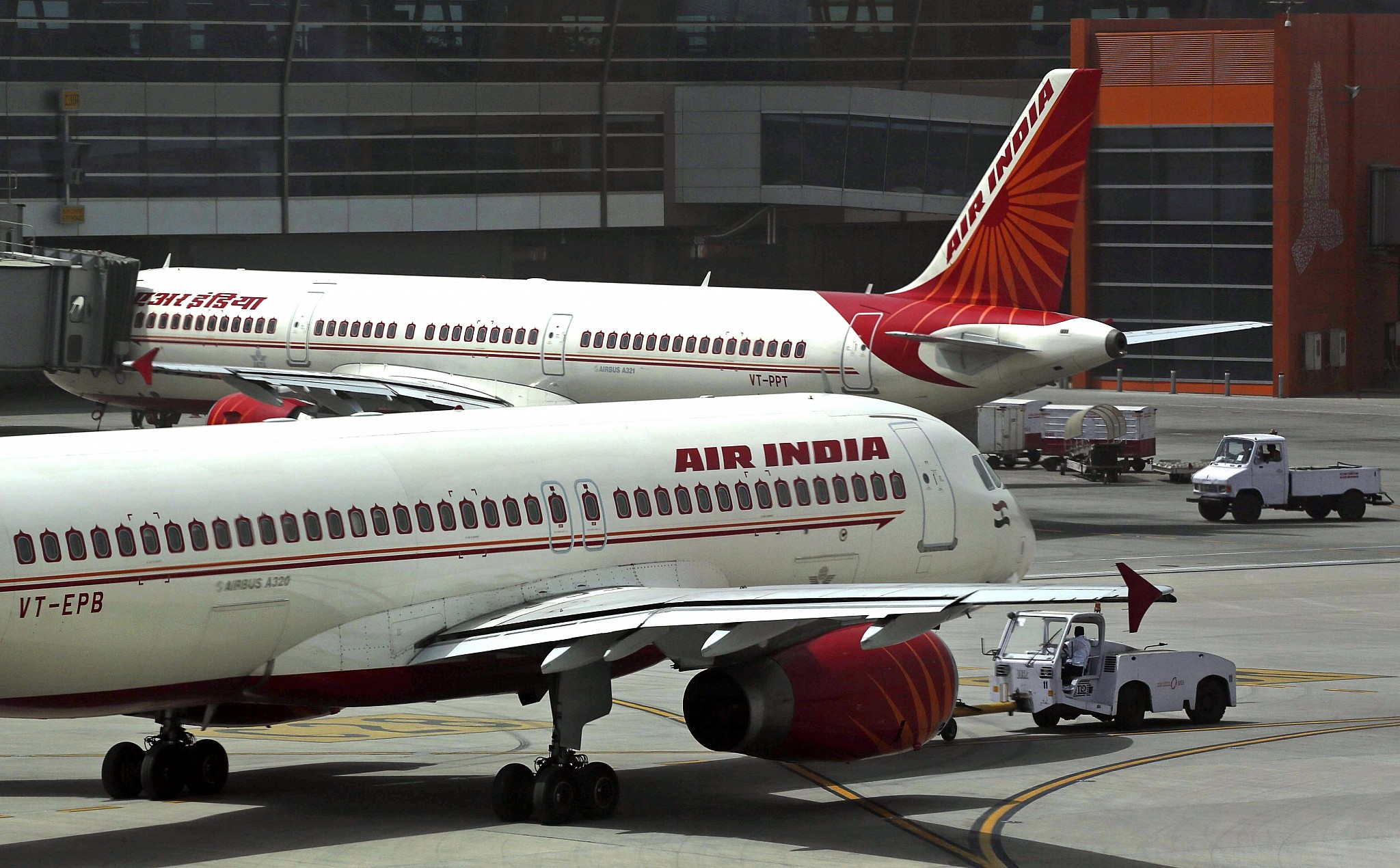 Illustrative Air India Planes Parked On The Tarmac At The Indira Gandhi International Airport In
