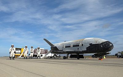 This undated photo provided by the US Air Force shows an X-37B Orbital Test Vehicle at NASA's Kennedy Space Center in Florida.  (US Air Force via AP)