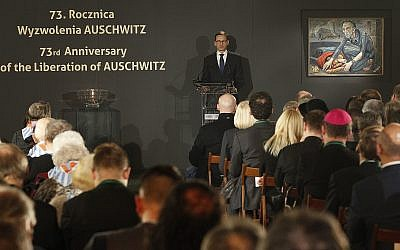 Polish Prime Minister Mateusz Morawiecki speaks at a commemoration event at the former Nazi German death camp Auschwitz-Birkenau on Saturday, January 27, 2018. (AP/Czarek Sokolowski)