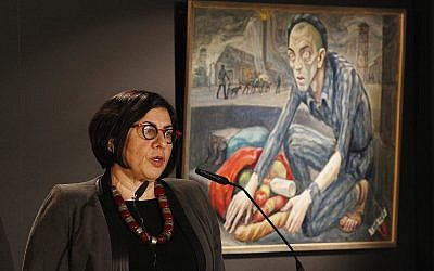 Israeli Ambassador to Poland Anna Azari speaks at a ceremony marking International Holocaust Remembrance Day in Oswiecim, Poland, on Saturday, Jan. 27, 2018 (AP Photo/Czarek Sokolowski)