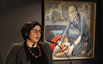 Israeli Ambassador to Poland Anna Azari speaks at a ceremony marking International Holocaust Remembrance Day in Oswiecim, Poland, on Saturday, Jan. 27, 2018 (AP Photo/Czarek Sokolowski)