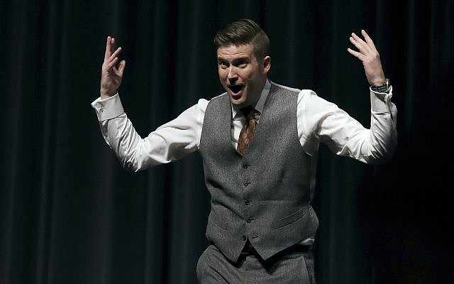 White nationalist Richard Spencer stirring up students during a speech at the University of Florida in Gainesville, October 19, 2017. (AP/Chris O'Meara, File)
