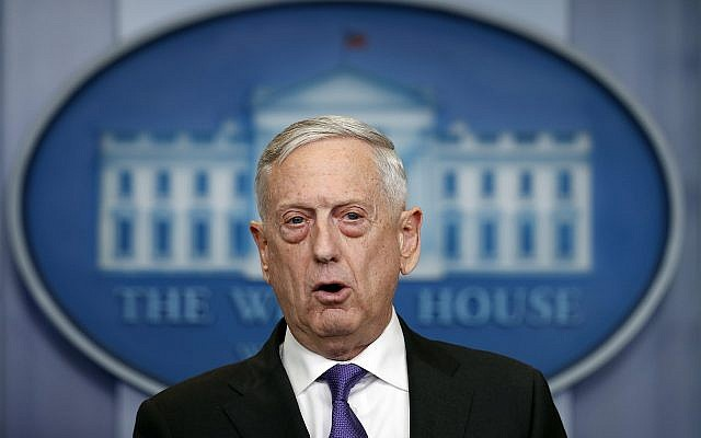 US Defense Secretary Jim Mattis speaks during the daily press briefing at the White House on February 7, 2018. (AP Photo/Carolyn Kaster)