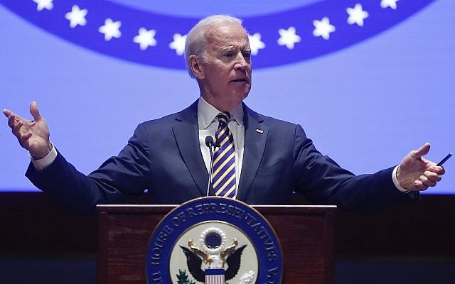 Former Vice President Joe Biden speaks to the House Democratic Issues Conference on Capitol Hill in Washington, Wednesday, Feb. 7, 2018. (AP Photo/Pablo Martinez Monsivais)