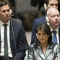 American Ambassador to the United Nations Nikki Haley, center, Jared Kushner, left, and Jason Greenblatt, listen as Palestinian President Mahmoud Abbas speaks during a Security Council meeting on the situation in Palestine, Tuesday, Feb. 20, 2018 at United Nations headquarters. (AP Photo/Mary Altaffer)
