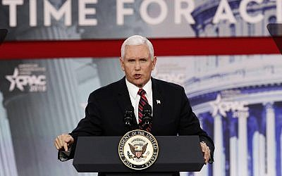 Vice President Mike Pence speaks at the Conservative Political Action Conference (CPAC), at National Harbor, Maryland on February 22, 2018. (AP Photo/Jacquelyn Martin)