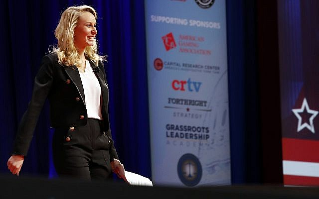 Marion Marechal-Le Pen, 28, leaves the stage after speaking at the Conservative Political Action Conference (CPAC), at National Harbor, Maryland on February 22, 2018. (AP Photo/Jacquelyn Martin)