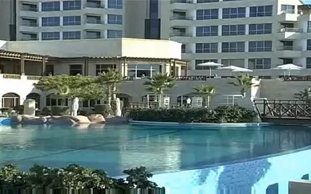 Gaza's luxury al-Mashtal hotel. (Screen capture: YouTube)