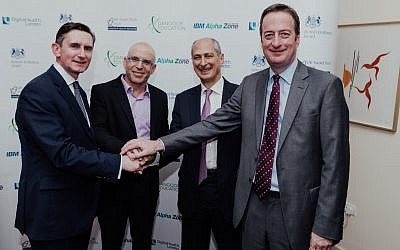 (From right) British Ambassador to Israel David Quarrey, David Dangoor, the Exilarch's Foundation, IBM Israel's CTO Uri Hayik and UCL Partners Managing Director Charlie Davie at the UK-Israel Dangoor Health Initiative launch event. (Ben Kelmer)