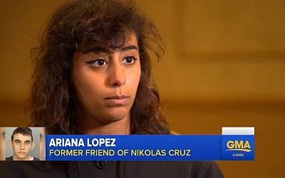 Ariana Lopez, a former friend of Nikolas Cruz, speaks to ABC's 'Good Morning America' on February 20, 2018. (Screen capture: YouTube)
