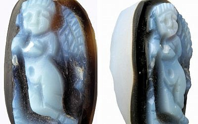 Details of a 2,000-year-old Cupid cameo discovered in the City of David's Givati Parking Lot excavation in 2010. (Israel Antiquities Authority)