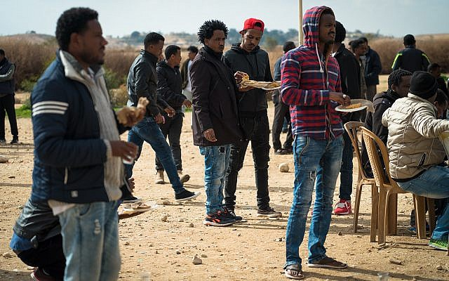 Eritrean asylum seekers outside the Holot detention facility in southern Israel, January 29, 2018. (Luke Tress/Times of Israel)