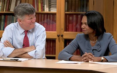 Professors David M. Kennedy and Condoleeza Rice at Stanford University in 'American Creed.' (Courtesy PBS)