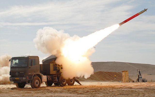 An Israel Military Industries EXTRA missile is fired from its launcher. (Israel Military Industries)
