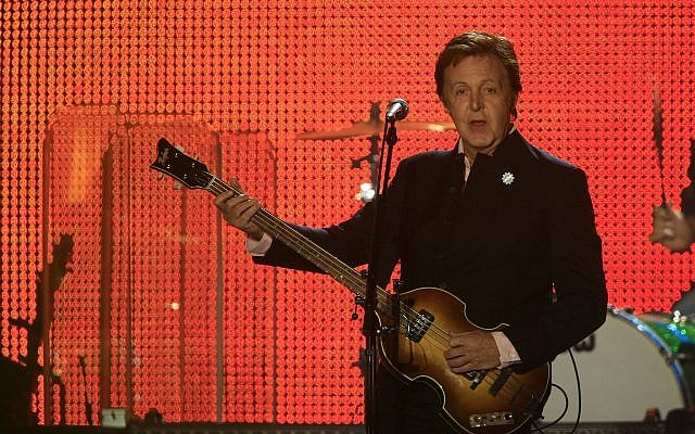 Former Beatle Paul McCartney, during his concert in Tel Aviv on September 25, 2008. (Nati Shohat/FLASH90/File)