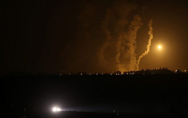 Illustrative: An Israeli army flare illuminating the sky over the Gaza strip on July 23, 2014. (Nati Shohat/Flash90/File)