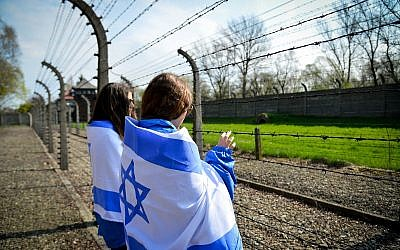 Illustrative image of students visiting the Auschwitz-Birkenau camp site in Poland, April 16, 2015. (Yossi Zeliger/Flash90)