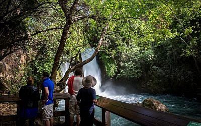 Illustrative: Visitors at the Banias Nature Reserve in northern Israel on April 3, 2016. (Miriam Alster/Flash90)