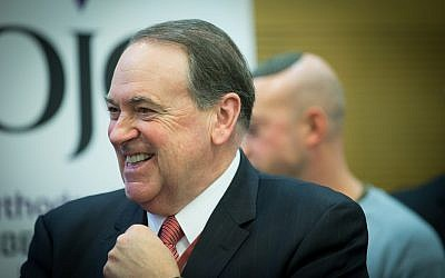 Former governor of Arkansas Mike Huckabee attends a special session for the strengthening of political ties between Israel and the US at the Knesset in Jerusalem, January 3, 2017. (Yonatan Sindel/Flash90)