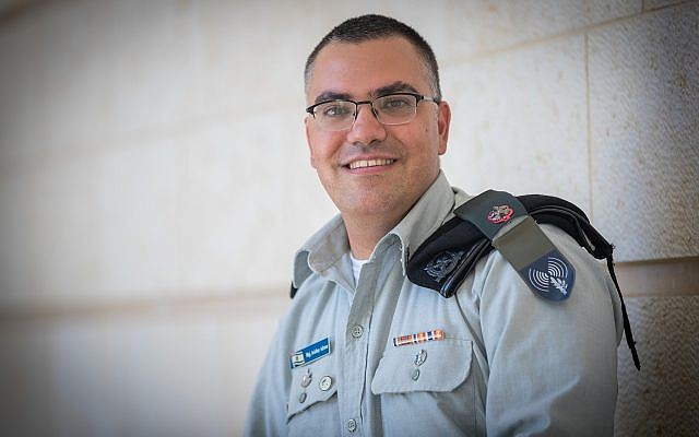 IDF Spokesman in Arabic, Avichay Adraee at the Ministry of Foreign Affairs in Jerusalem on September 6, 2017. (Yonatan Sindel/Flash90)