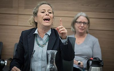 Zionist Union MK Ayelet Nachmias Verbin reacts during a committee meeting at the Knesset, in Jerusalem, on December 3, 2017. (Hadas Parush/Flash90)