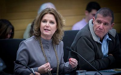 Meretz MK Michal Rozin reacts during Interior Affairs Committee meeting regarding the deportation of African asylum seekers at the Knesset on January 29, 2018. (Alster/Flash90)