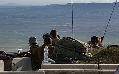 Israeli soldiers in a military post overlooking the border with Syria, in the Golan Heights following an F-16 plane crash in northern Israel, on February 10, 2018.  (Flash90)