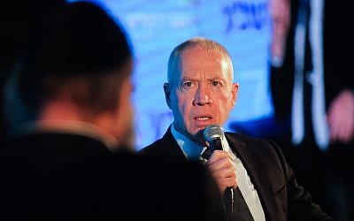Housing Minister Yoav Galant speaks at the 15th annual Jerusalem Conference of the 'Besheva' group, on February 12, 2018. (Hadas Parush/Flash90)
