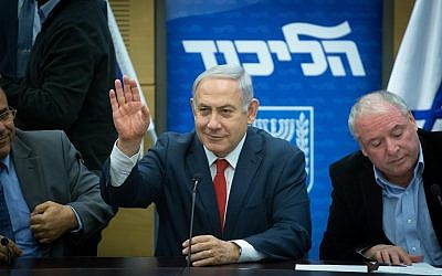 Prime Minister Benjamin Netanyahu leads a Likud party faction meeting in the Knesset on February 12, 2018 (Miriam Alster/Flash90)