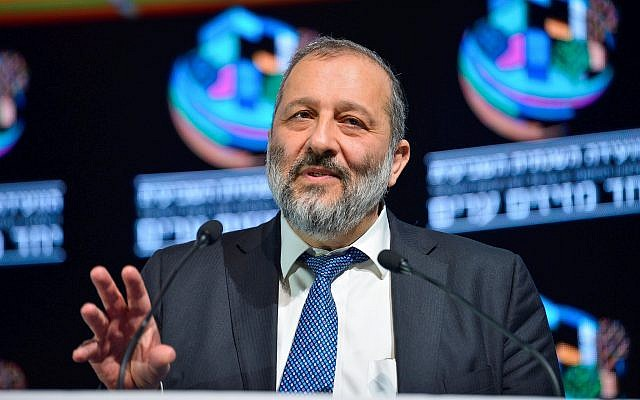 Interior Minister Aryeh Deri attends the Muni Expo 2018 conference at the Tel Aviv Convention Center on February 14, 2018. (Tomer Neuberg/Flash90)
