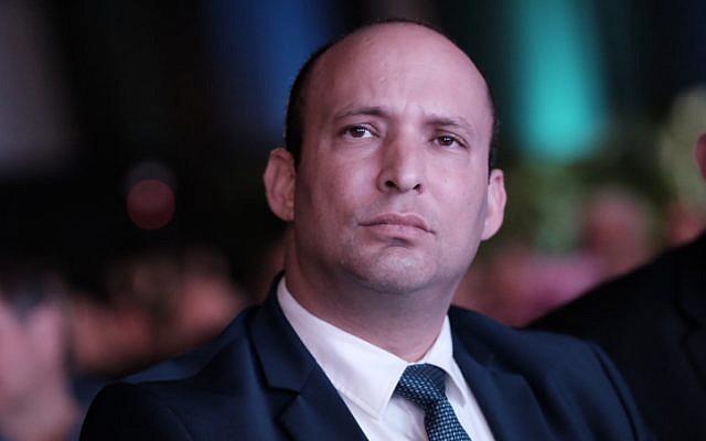 Education Minister Naftali Bennett attends the Muni Expo 2018 conference at the Tel Aviv Convention Center on February 14, 2018. (Tomer Neuberg/Flash90)