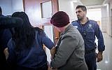 An Australian woman wanted in her home country for child sex abuse crimes is seen at the Jerusalem District Court on February 14, 2018. (Yonatan Sindel/Flash90)