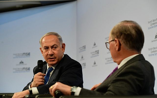 Prime Minister Benjamin Netanyahu speaks at the Munich Security Conference in Munich, Germany, on February 18, 2018. (Amos Ben Gershom/GPO)