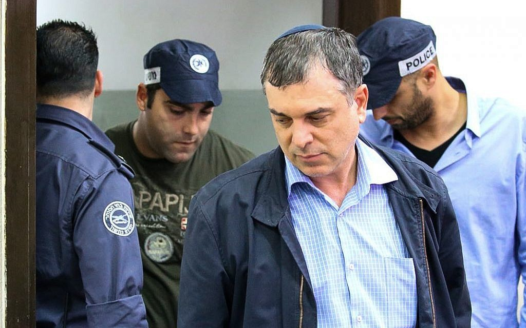 Former Communications Ministry director-general Shlomo Filber arrives for a hearing at the Rishon Lezion Magistrate's Court on February 18, 2018. (Flash90)