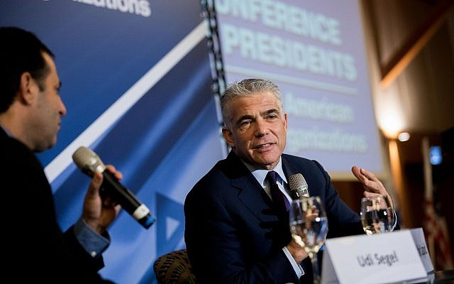 Yesh Atid chariman Yair Lapid speaks at the Conference of Presidents of Major American Jewish Organizations, at the Inbal Hotel in Jerusalem,February 19, 2018. (Yonatan Sindel/Flash90)