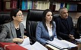 Justice Minister Ayelet Shaked (c) seen with Supreme Court President Esther Hayut (L) and Finance Minister Moshe Kahlon, along with members of the Judicial Selection Committee on February 22, 2018. (Hadas Parush/Flash 90)