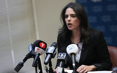 Justice Minister Ayelet Shaked gives a statement to the media in Jerusalem, February 26, 2018 (Yonatan Sindel/Flash90)